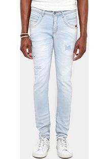 Calça Jeans Skinny Zune Super Delavê Cerzido Masculina - Masculino