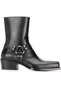 Dsquared2 Square Toe Strap-Detail Ankle Boots - Preto