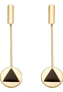 Brinco Prata Mil Redondo Reticulado E Redondo Com Triângulo Com Resina Dourado - Kanui