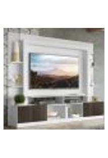 "Rack Estante Com Painel Tv 65"" E 2 Portas Oslo Multimóveis Branco/Tenerife"