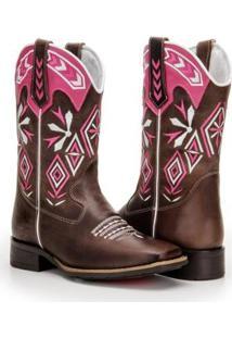 Bota Texana Country Capelli Boots Couro Detalhes Costura Feminina - Feminino-Café