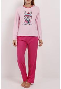 Pijama Longo Feminino Rosa/Pink