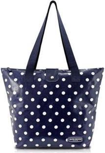 Bolsa Shopper Jacki Design Flanelado - Feminino-Azul Escuro