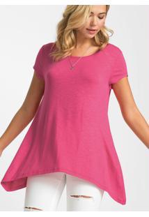 Blusa Assimétrica Mangas Curtas Rosa