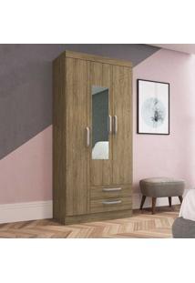 Guarda-Roupa Solteiro 3 Portas 2 Gavetas Com Espelho Rp2320/E Wood - Decibal Móveis