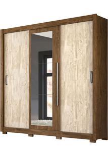 Guarda-Roupa Casal Com Espelho Montreal Plus 3 Pt 3 Gv Castanho Wood E Avelã