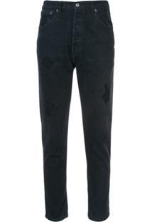 Re/Done Calça Jeans Cropped Com Detalhes Rasgados - Preto