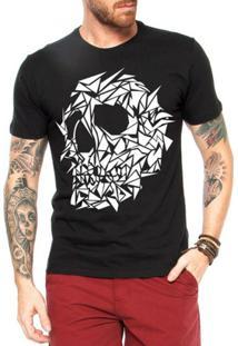 Camiseta Criativa Urbana Caveira Assimétrica - Masculino-Preto