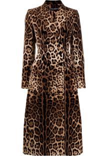 Dolce & Gabbana Casaco Animal Print Com Abotoamento Duplo - Neutro