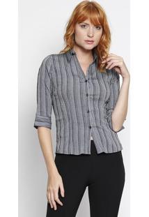 Camisa Texturizada- Preta & Cinza- Intensintens