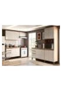 Cozinha Compacta Chardonnay 14 Pt 4 Gv Castanho E Branca