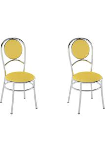 Kit 2 Cadeiras Pc03 Assento Amarelo - Pozza