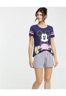 Pijama Disney Mickey Listrado Manga Curta Feminino - Feminino-Azul