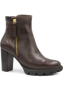 Bota Coturno Zariff Shoes Tratorado Feminino - Feminino-Marrom