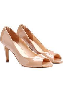 Peep Toe Shoestock Salto Fino - Feminino-Nude