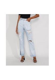 Calça Jeans Feminina Reta Cintura Super Alta Destroyed Com Fendas Azul Claro