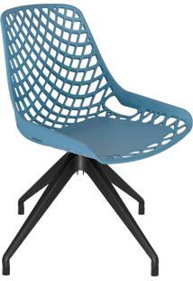 Cadeira De Cozinha Giratória Beau Design Azul E Preta