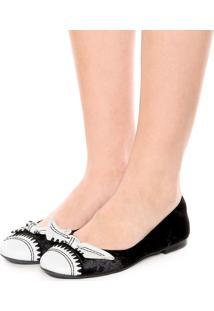 Sapatilha Dafiti Shoes Bordado Preta/Branca