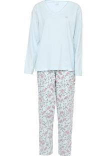 Pijama Pzama Floral Azul