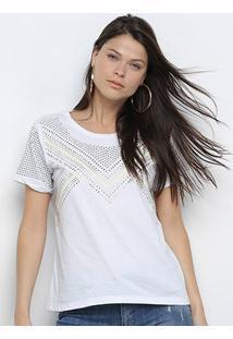 Camiseta Lança Perfume Descolada Hotfix Feminina - Feminino-Branco