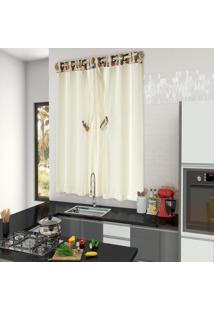 Cortina Tropical Para Cozinha Abacaxi 2,00M X 1,50M. Palha - Multicolorido - Dafiti
