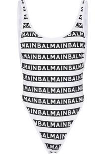Balmain Logo-Stripe High-Leg Swimsuit - Preto