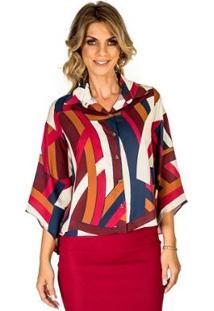 Camisa Estampada Realist - Feminino-Vermelho