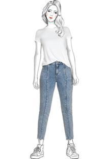 Calça Azul Claro Jeans Mom Cintura Alta