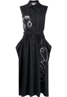 Moschino Graphic Print Dress - Preto