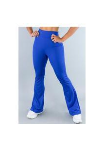 Calça Feminina Mvb Modas Flare Pantalona Suplex Azul