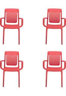 Conjunto Com 4 Cadeiras De Jardim Factory Vermelho