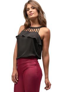 Regata Crepe Mx Fashion Michelle Preto