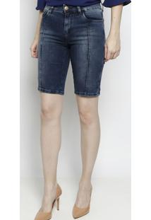 Bermuda Jeans Com Nervuras - Azul Escuro - Scalonscalon