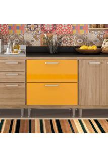 Balcão 70Cm Com 02 Gavetas Argila Texturizado Lacca Ad Amarelo