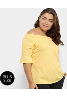 Blusa Plus Size Lecimar Listrada Feminina - Feminino