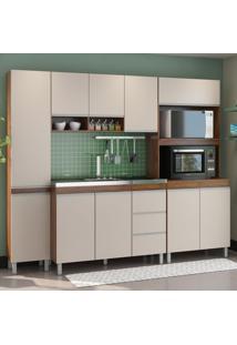 Cozinha Compacta Alexa 10 Portas 3 Gavetas Seda/Off White - Viero Móveis
