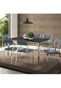 Mesa 1526 Preta Cromada Com 6 Cadeiras 1709 Azul Noturno Carraro
