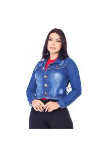 Jaqueta Jeans Curta Cropped Destroyed - Ewf Jeans - Azul Escuro