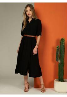 Vestido Longuete Preto Com Fendas