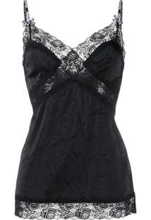 Versace Jeans Couture Blusa Com Detalhe De Renda - Preto