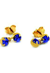 Brincos Horus Import Pingente Azul Topázio Banhado Ouro Amarelo 18K