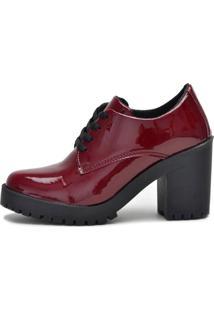 Botinha Ankle Boot Bota Salto Macshoes 5201-Vinho Verniz - Tricae