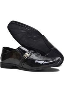 Sapato Social Masculino Em Couro Garra 910 Verniz - Masculino-Preto