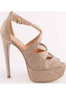 Sandália Meia Pata Em Couro Com Glitter- Douradaluiza Barcelos