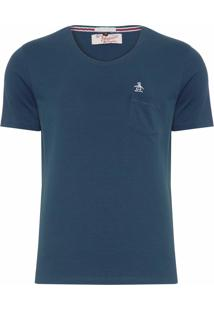 Camiseta Penguin Slim Fit Pocket Azul Marinho