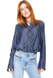 Camisa Jeans Carmim Slim Ruffles Azul