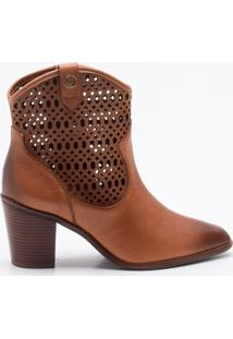 Ankle Boot Couro Camel - 38