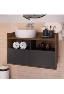 Gabinete Para Banheiro 2 Portas E Nichos Benício Estilare Móveis Preto/Madeirado