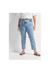 Calça Jeans Mom Com Rasgos Curve & Plus Size   Ashua Curve E Plus Size   Azul   52