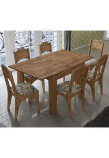 Conjunto Sala De Jantar Mesa E 6 Cadeiras Tm37 Nobre/Ladrilho - Dalla Costa